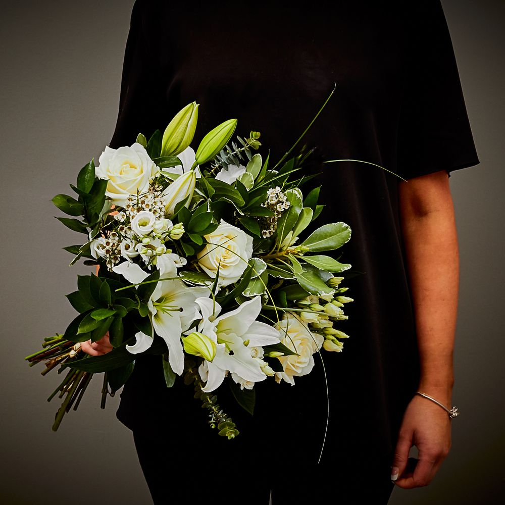 White Sympathy Hand Tied 2 Arbour Blooms