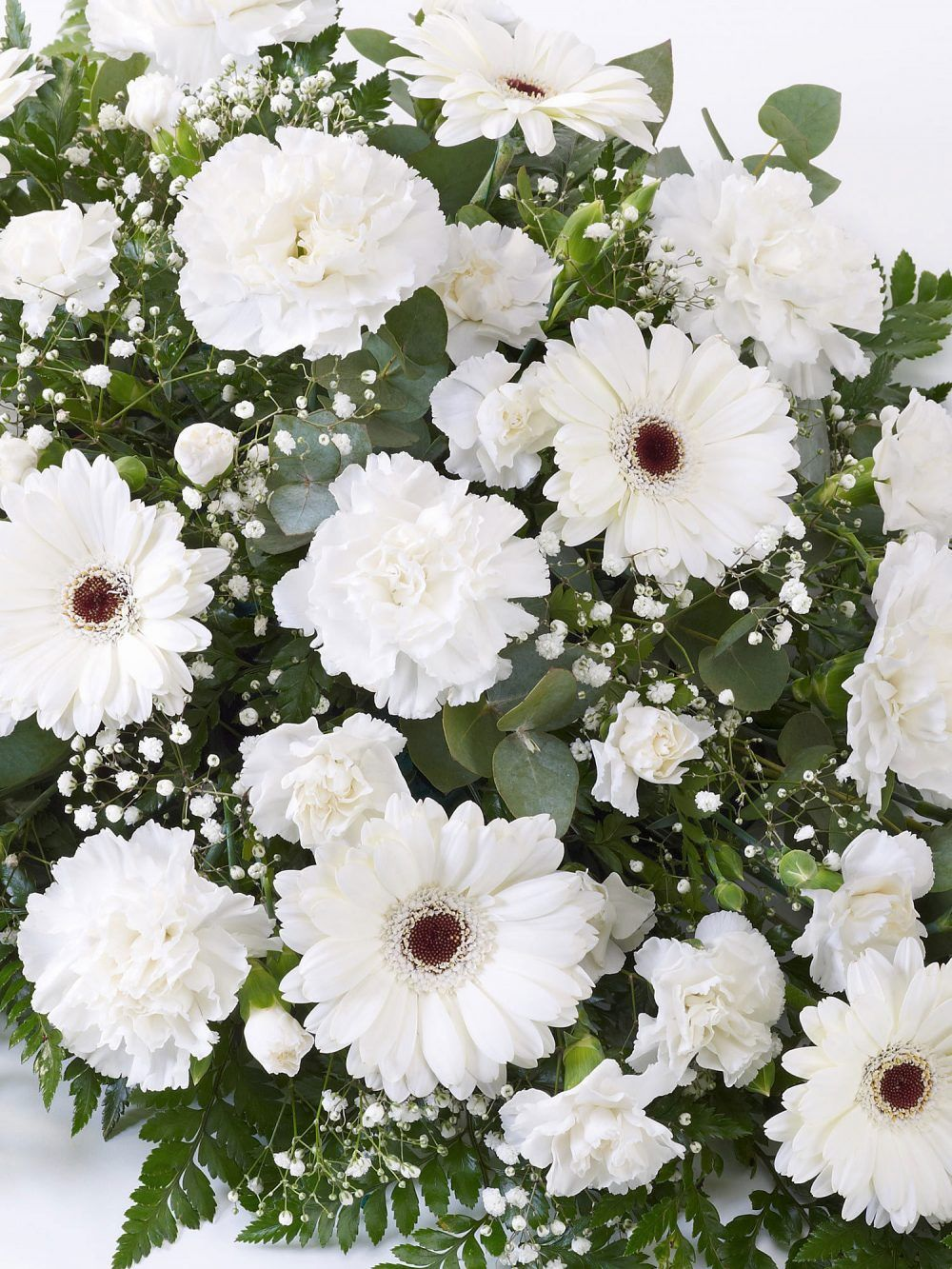 Carnation And Germini Teardrop Spray White1