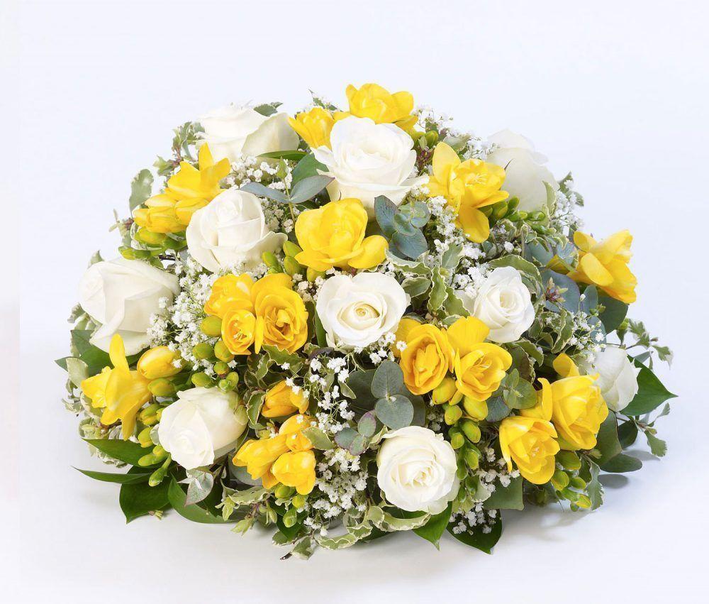 Rose And Freesia Posy Yellow And White